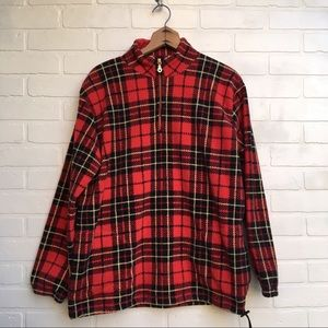 Plaid Cotton Fleece Zip Up